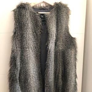 Armani Exchange AX faux fur vest/waistcoat